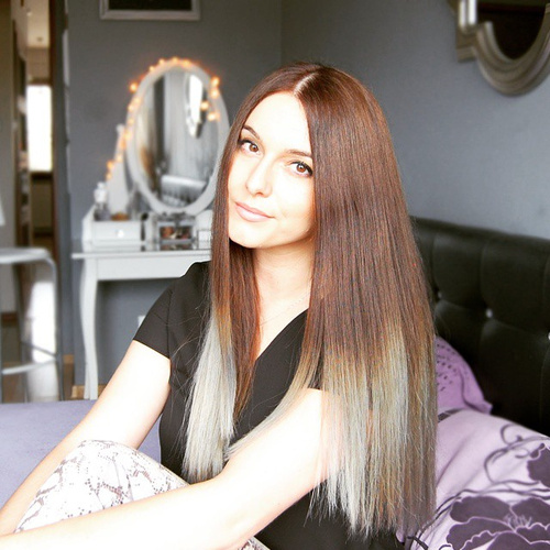 light brown hair with silver ombre