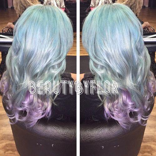 silver blue into lavender ombre