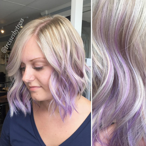 blonde hair with lavender ombre highlights