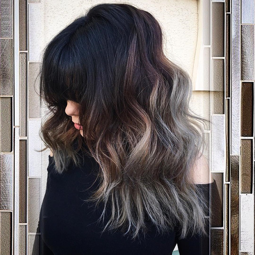 black shaggy hairstyle with silver ombre
