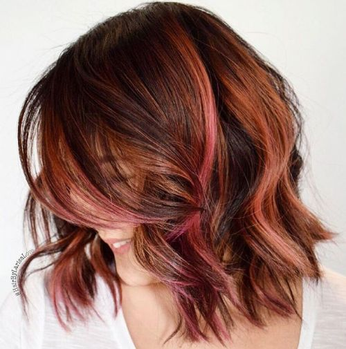 Caramel And Pink Highlights For Brown Hair