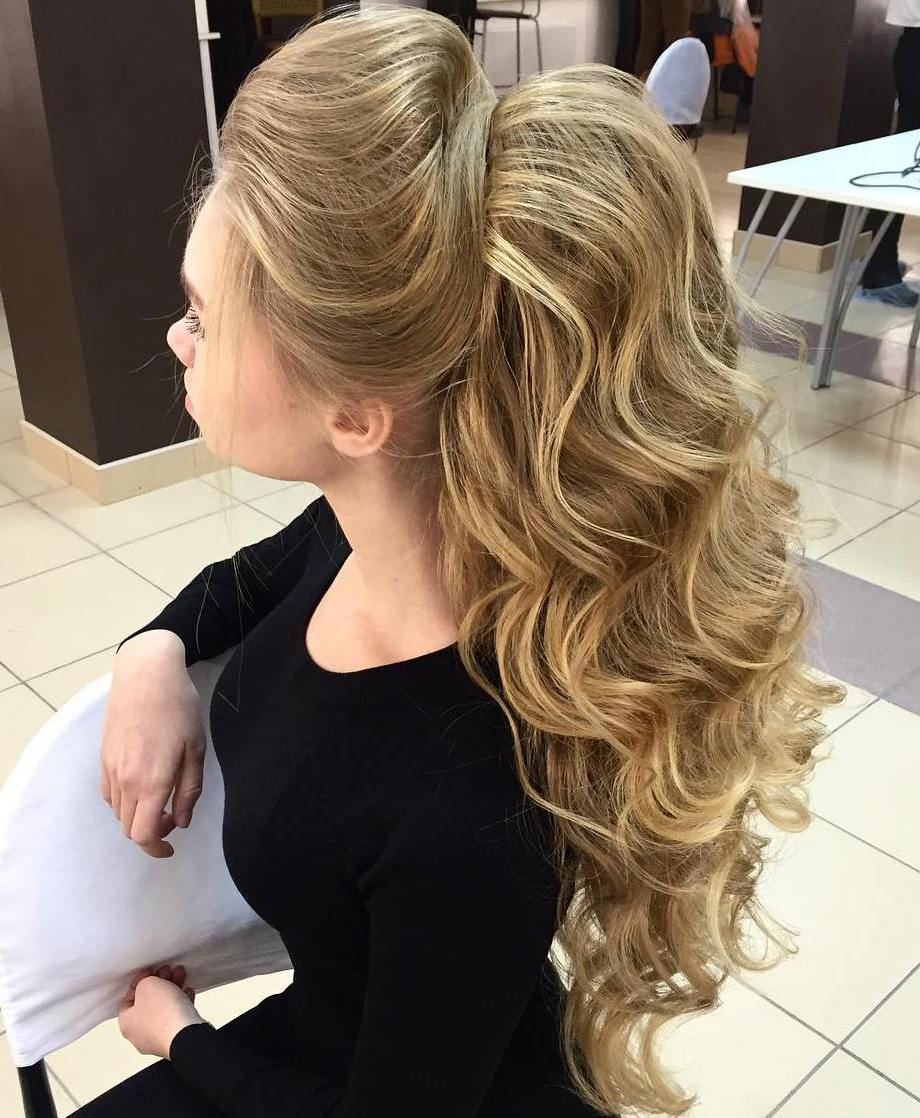 Formal Curly Bouffant Ponytail