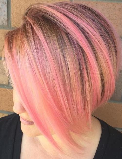 Pastel Pink Highlights For Golden Blonde Bob