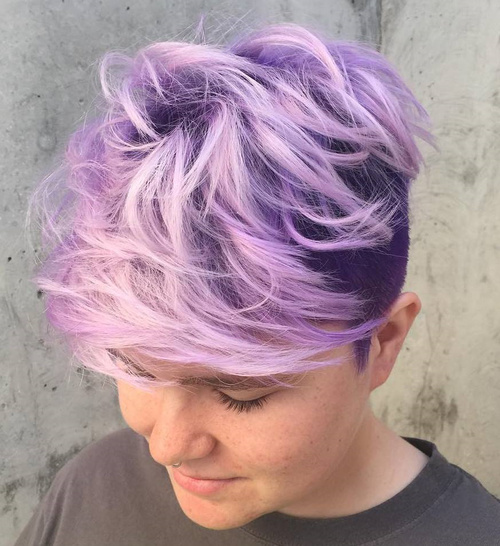 Purple Long Top Short Sides Hairstyle