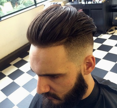 long top, short sides men's hairstyle with beard