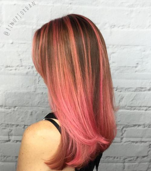 Brown And Pink Balayage Ombre Hair