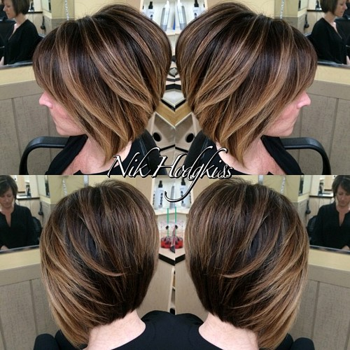layered brown bob with balayage highlights