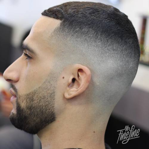 fade with a square hair line