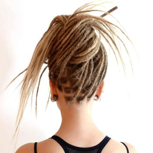Funky Knotted Updo For Dreadlocks