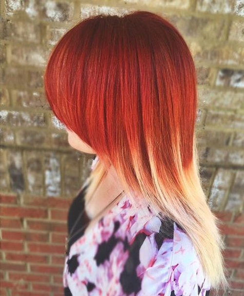 red to blonde ombre for medium hair