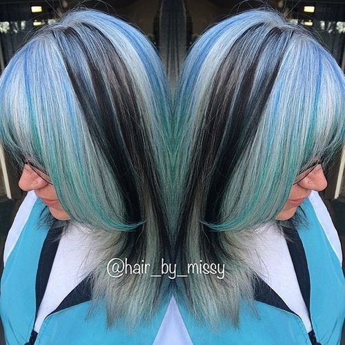 pastel blue hair with black lowlights