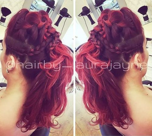 braided updo with a ponytail