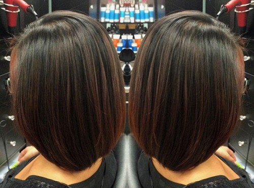 very subtle red highlights for dark brown bob