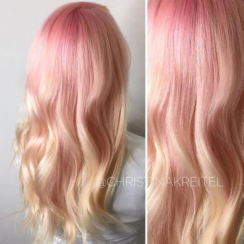 creamy blonde hair color with pastel pink roots