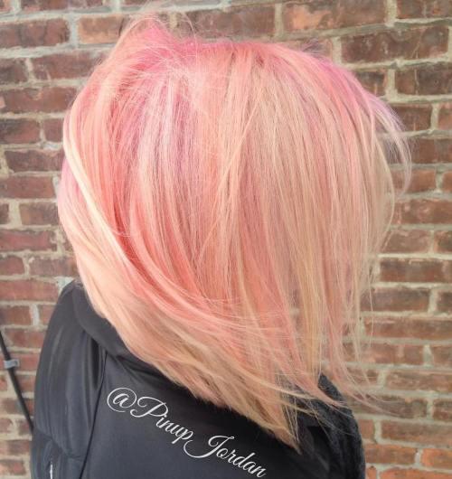 Blonde Bob With Pink Balayage