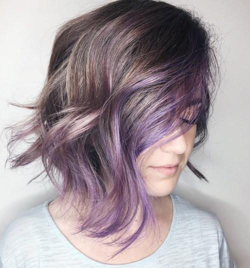 Pastel Purple Balayage For Brunette Bob