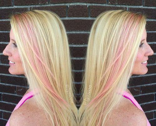 blonde hair with pastel pink stripe