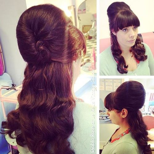 half beehive with bangs for long hair