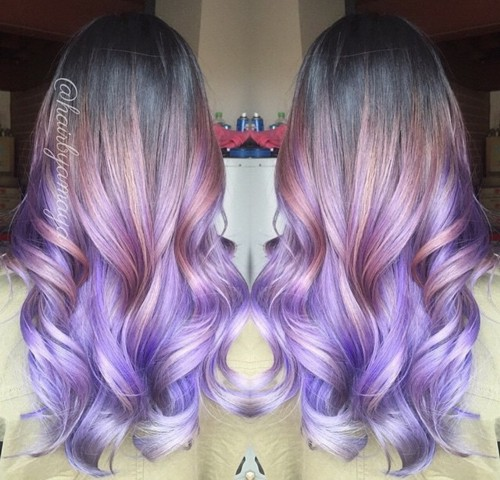 pastel purple ombre for dark brown hair