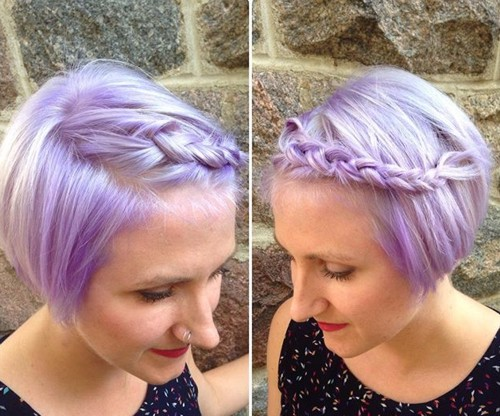 short pastel purple hairstyle with a braid