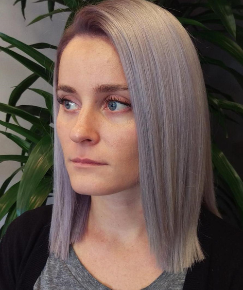 ash blonde hair with very light pastel purple highlights