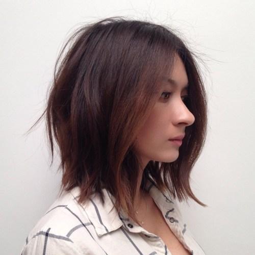 medium wavy dark brown hairstyle