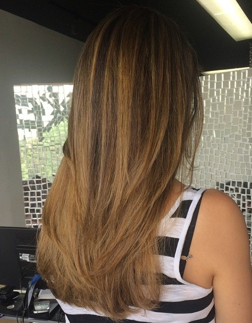 dark brown to light golden brown ombre