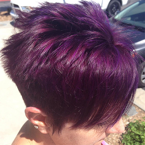 purple brown pixie hairstyle
