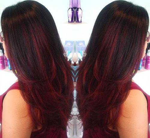 27: Dark Brown Hair with Burgundy and Auburn Balayage