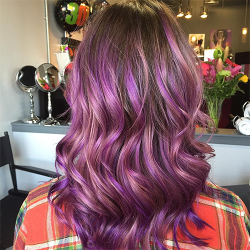 brown hair with pastel purple ombre highlights