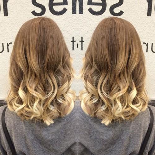 blonde ombre hair and medium U cut