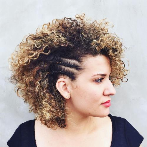 short layered permed hairstyle with cornrows