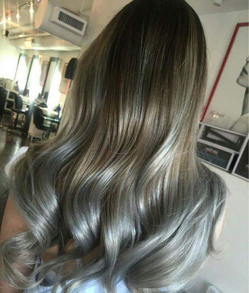 brown hair with silver blonde highlights