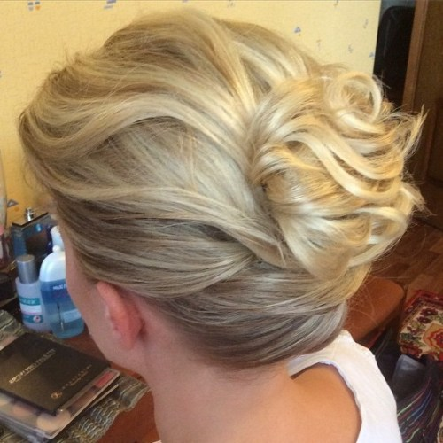 bun hairstyles with bangs : Bun For Short Wavy Hair
