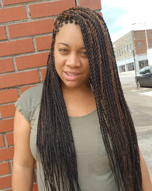 Long Highlighted Senegalese Twists