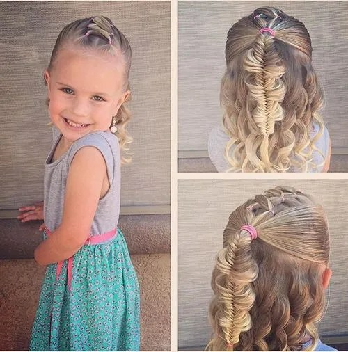 fishtail and curls half updo for toddlers