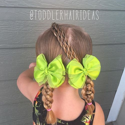 two braids and three twists for little girls