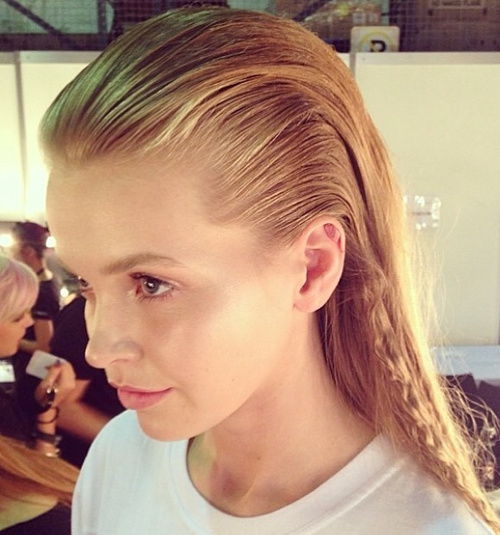 blonde slicked back wet hairstyle