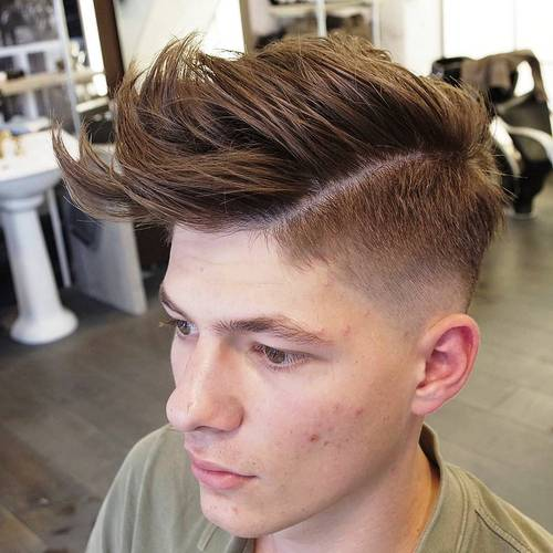 tapered side part quiff haircut