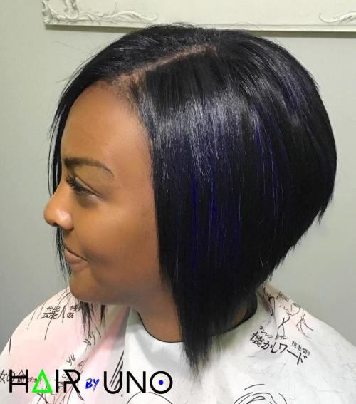 Black Razored Bob With Blue Highlights