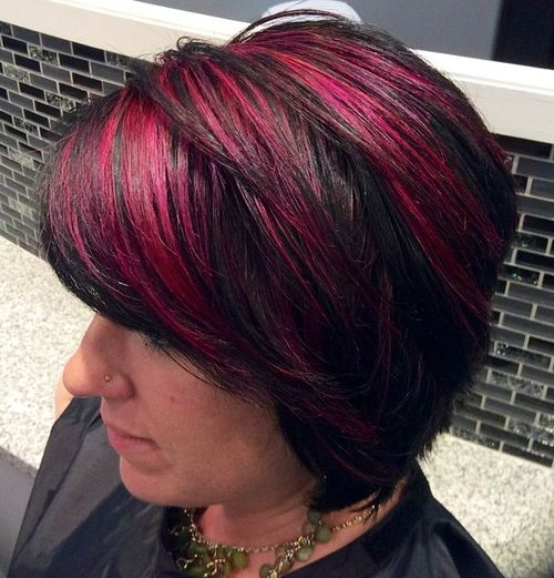 black bob with bright pink highlights