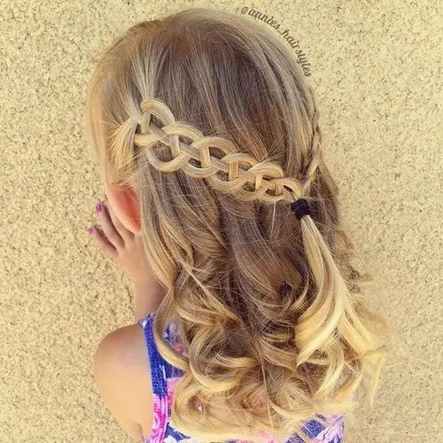 half up braided toddler hairstyle