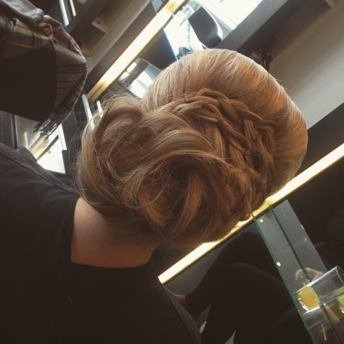 loose updo with braids for women over 40