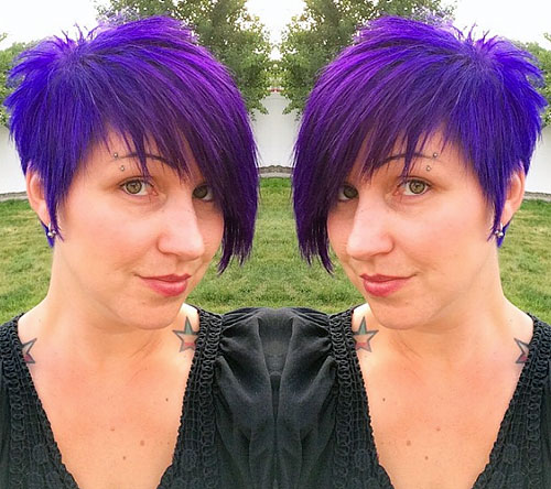 purple chopped asymmetrical pixie