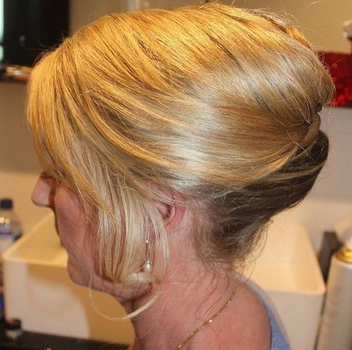 formal french knot updo for older women