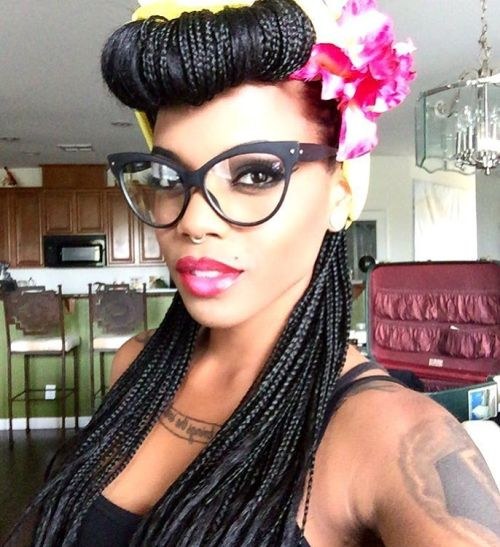 Black Pin Up Hairstyle With Braids