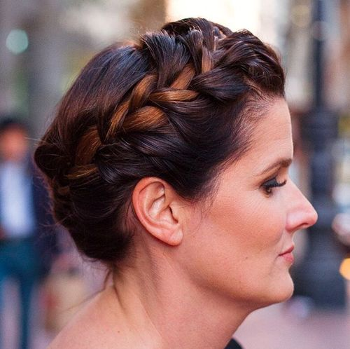 crown braid updo for mature women