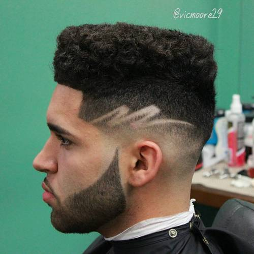 Designer Hairstyle : black flat top with fade and design