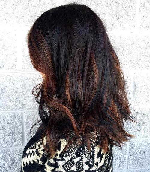 dark brown hair with dark caramel highlights
