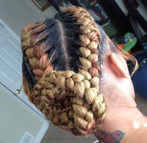 blonde goddess braids bun updo